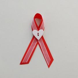 Červeno biele svadobné pierko 10 cm