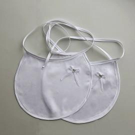 Saténnové podbradníky s bielou mašličkou - 2 ks
