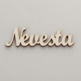 """Drevený nápis """"Nevesta"""" - 12 cm, typ B stredný"""