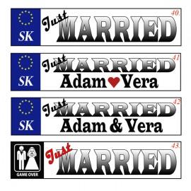 Svadobná špz - vzor Jusť Married