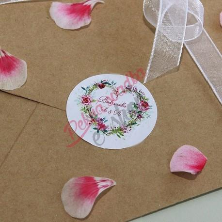 Set nálepiek na obálky Kvetové srdiečko
