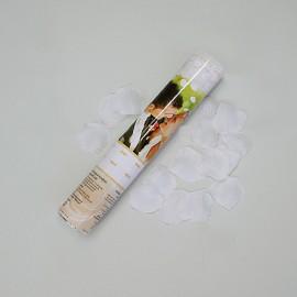 Biele srdiečka + smotanové lupene ruží 40 cm tuba