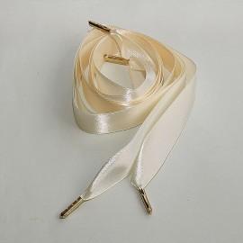Saténové šnúrky do topánok 20 mm, rôzne farby, zlatá koncovka
