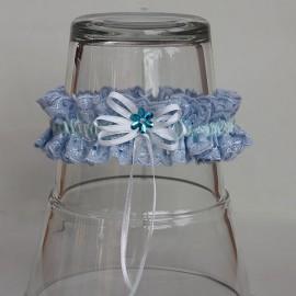 Modrý madeirový podväzok s modrým flitrovým kvietkom