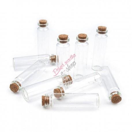 Sklenené flaštičky s korkom - 20 ks balenie