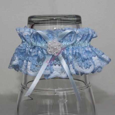 Modrý čipkovaný podväzok s gorálkovým kvetom