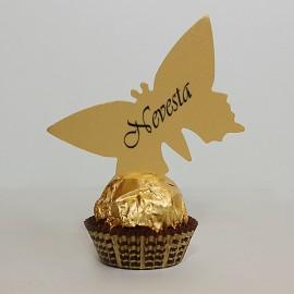 Menovky motýľ - s textom - zlatá farba