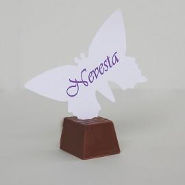 Menovky motýľ - s farebným textom - biela farba