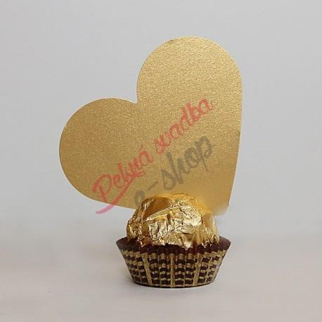 Menovka srdce - bez textu - zlatá farba