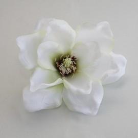 Saténový látkový kvet - maslovo smotanový