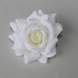 Saténový látkový kvet - smotanový
