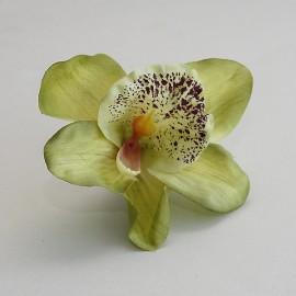 Saténový látkový kvet - svetlo zelený