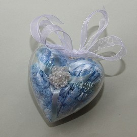 Modrý čipkovaný podväzok s perleťovým kvietkom v darčekovom balení